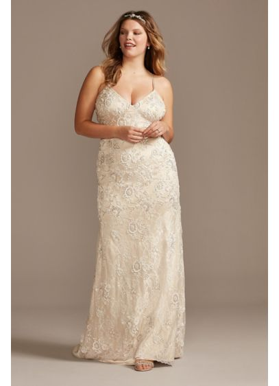 Skinny Strap Sequin Plus Size Lace Wedding Dress - Matte sequins and beading outline floral lace appliques