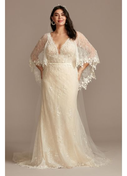Lace Plus Size Wedding Dress with Trimmed Capelet - Adorned with crochet trim and floral lace appliques,