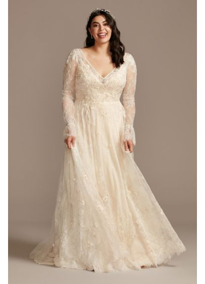 Long Sleeve Chantilly Lace Plus Size Wedding Dress - Crafted of airy Chantilly lace and adorned with