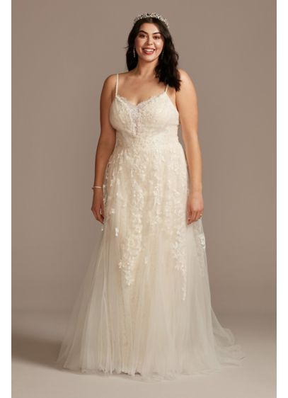 Pleated Lace Caged Skirt Plus Size Wedding Dress - Crafted of micro-pleated lace and topped with an