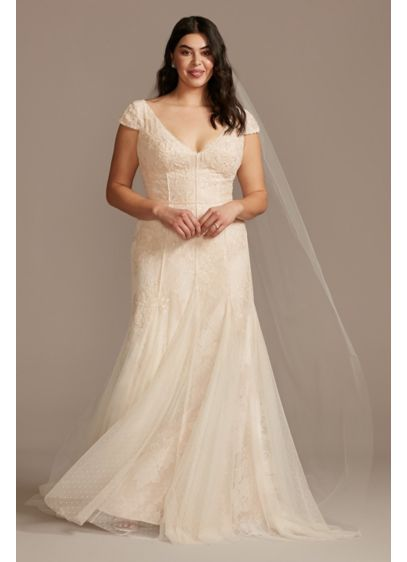 Cap Sleeve Point D'Esprit Plus Size Wedding Dress - Featuring embroidered dot trim, an underlayer of sequin