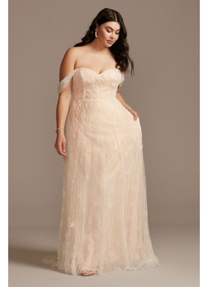 Removable Sleeves Plus Size Floral Wedding Dress - Tonal floral beading adds rich texture to this