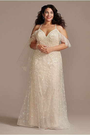 Flutter Sleeve 3D Floral Plus Size Wedding Dress