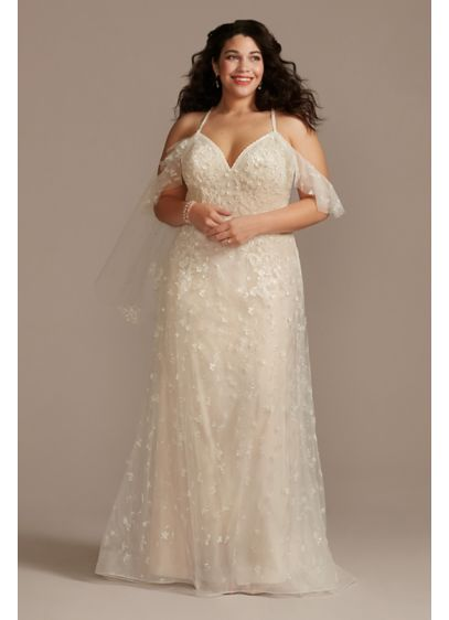 Flutter Sleeve 3D Floral Plus Size Wedding Dress - Covered with intricate 3D flowers and thousands of