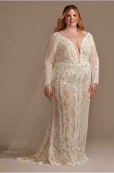 Illusion Plunge Sleeved Plus Size Wedding Dress