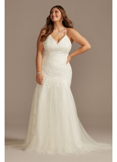 Beaded Plus Size Spaghetti Strap Wedding Dress - A soft tulle mermaid godet skirt cascades from