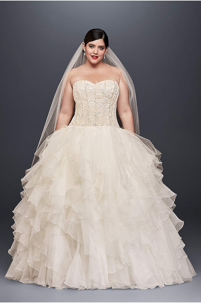 Oleg Cassini Ruffled Skirt Plus Size Wedding Dress - Picture your guests' reactions when you arrive in