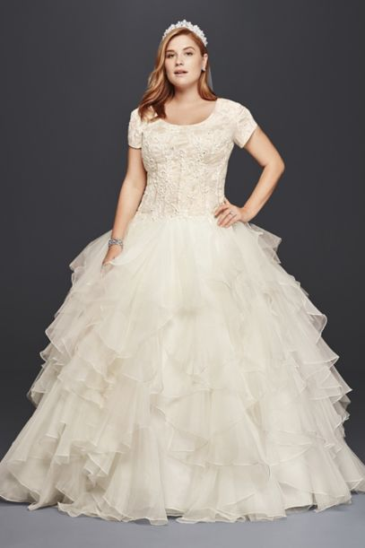 Oleg Cassini Plus Size Modest Ruffle Wedding Dress David