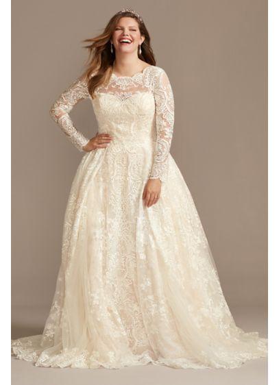 Long Sleeve Beaded Lace Plus Size Wedding Dress