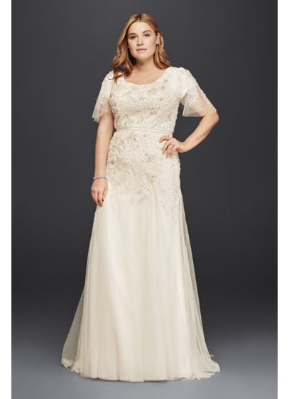Plus Size Modest Wedding Dress With Floral Lace Davids Bridal
