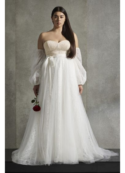 White by Vera WangCorset Plus Size Wedding Dress - A rich mixture of textures lends this collapsed