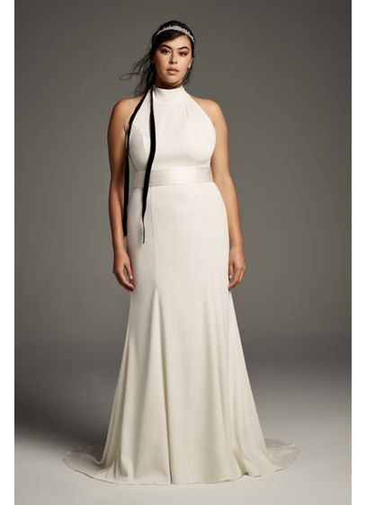 White by Vera Wang Plus Size Halter Wedding - This minimalist chic crepe gown will have you