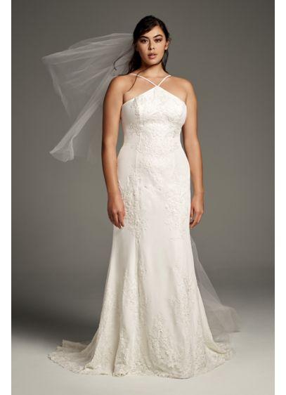 White by Vera Wang Plus Size Sheath Wedding - This modern White by Vera Wang crepe sheath