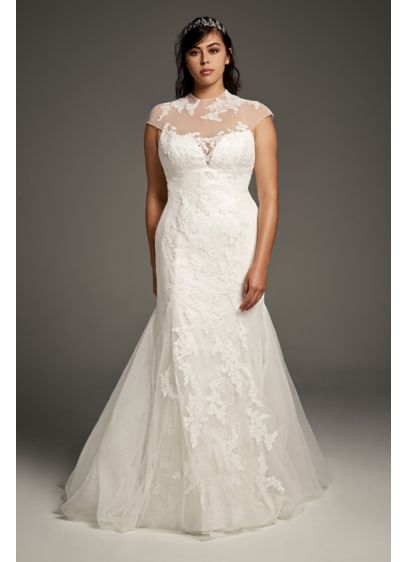 Chantilly Lace Plus Size Trumpet Wedding Dress - Organically placed lace appliques float atop the modern