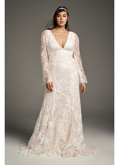 White by Vera Wang Bell Plus Size Wedding - This romantic White by Vera Wang wedding dress