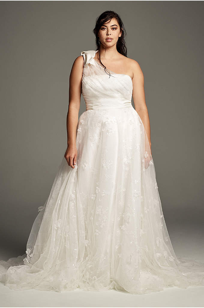 Tulle Plus Size One-Shoulder A-Line Wedding Dress - This petite one-shoulder wedding dress from White by