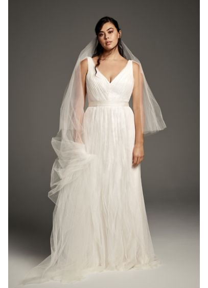 Pleated Tulle Flutter-Back Plus Size Wedding Dress - Soft vertical ruffles of tulle float over a