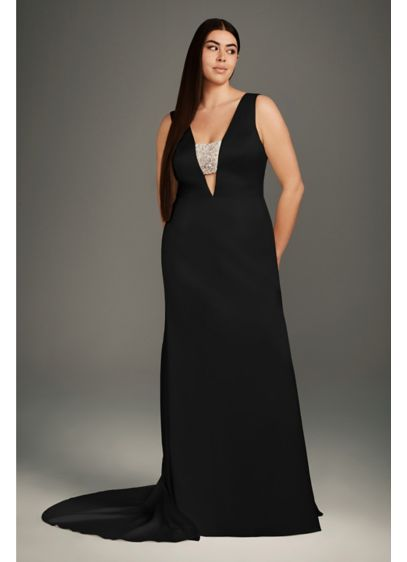 Crepe-Back Satin Encrusted Bandeau Plus Size Gown - A gown for the modern minimalist (who still