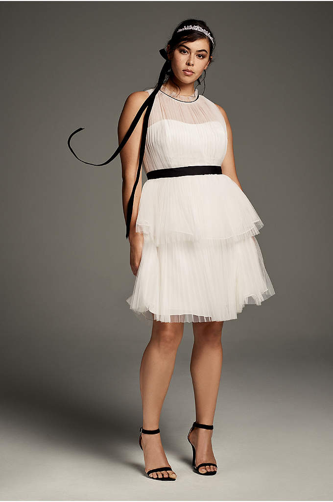 High-Neck Tiered Tulle Plus Size Short Dress - Black grosgrain ribbons define the high, pleated neck