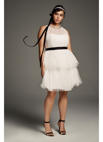 High-Neck Tiered Tulle Plus Size Short Dress | David\'s Bridal