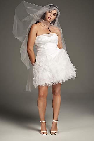 Mini Vestido de Tul Con Falda Floral en 3D