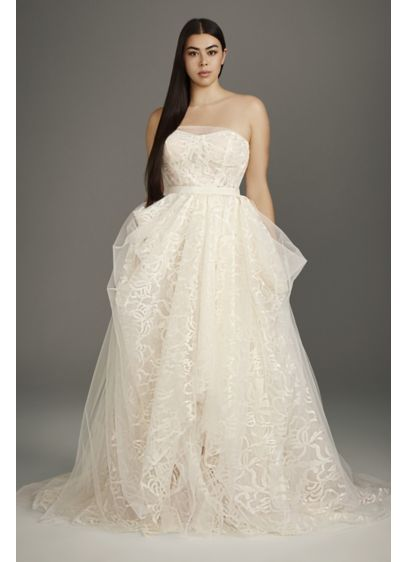 Stencil Sequin Plus Size Ball Gown Wedding Dress - Constructed to be super-lightweight and airy, this tulle