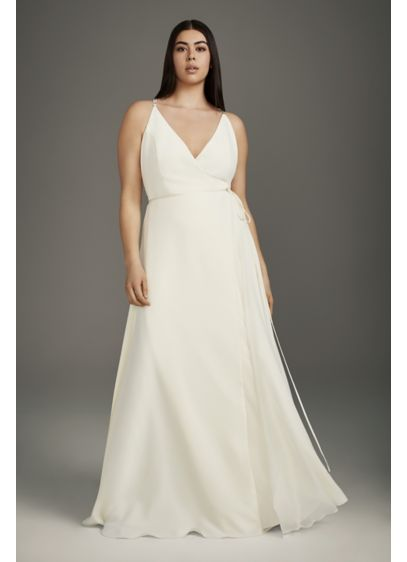 Plus Wrap Gown with Jeweled Crisscross Low Back - The definition of reception ease, this flowy crepe