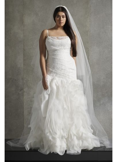 White by Vera Wang Flange Plus Size Wedding - A cowl neckline and asymmetric pleats gives an