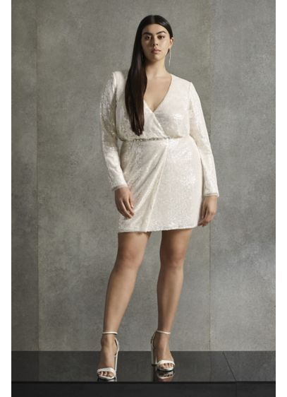 White by Vera Wang Sequin Plus Size Mini - Perfect for the contemporary bride, this wrap-style mini