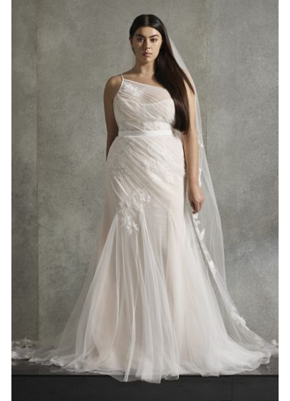 White by Vera Wang Pleated Plus Size Wedding - Modern and romantic, this wedding dress features a
