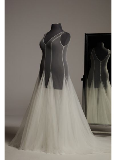 White by Vera Wang Plunging Tulle Plus Overdress - Inspired by classic and modern dance, this airy
