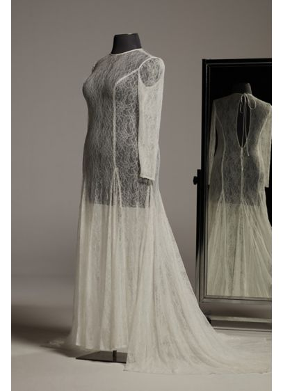 White by Vera Wang Long Sleeve Lace Plus - Crafted with floral Chantilly lace, this wedding overdress