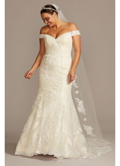 Beaded Lace Mermaid Plus Size Wedding Dress David S Bridal