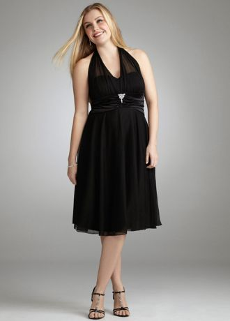 Illusion Plus Size Halter Dress with