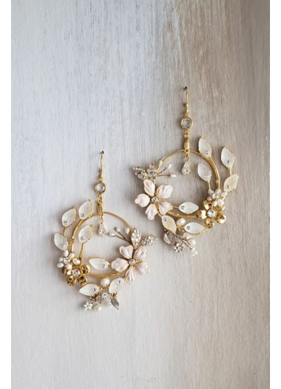 Floral Sculpture Freshwater Pearl Hoop Earrings - Sculptural flowers crafted of freshwater pearls, brass, and
