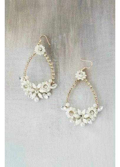 Porcelain Flower Cluster Teardrop Earrings - Charming and sweet, these brass teardrop earrings feature