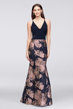 V Neck Jersey And Brocade Mermaid Gown Davids Bridal