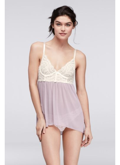Fiorentina Colorblocked Lace and Mesh Babydoll - Wedding Accessories