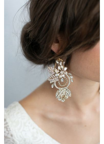 Crystal-Encrusted Floral Chandelier Earrings - Crystal-encrusted leaf charms, freshwater pearls, and bursts of