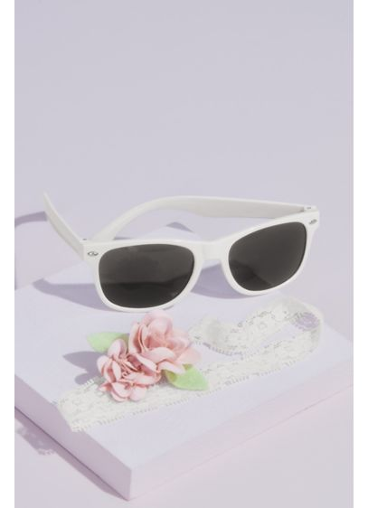 White (Flower Girl Sunglasses and Headband Set)