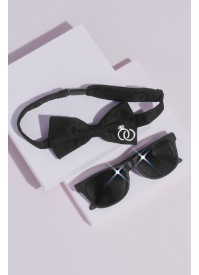 Black (Ring Bearer Sunglasses and Bow Tie Set)