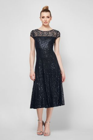 Cap Sleeve Sequin Lace Tea-Length Cocktail Dress - Crafted of dainty lace and topped with scattered