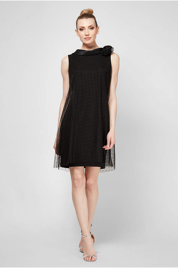 Mesh Overlay Short Dress with Satin Back Collar - Topped with a dotted mesh overlay and finished