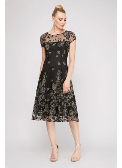 Floral Glitter Tea Length Sheer Yoke A-Line Dress - Clusters of glittery flowers adorn this A-line dress