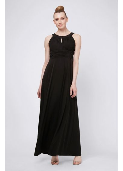 Keyhole Round Neck Chiffon Dress with Ruched Waist - Ruching at the waistline creates an hourglass silhouette