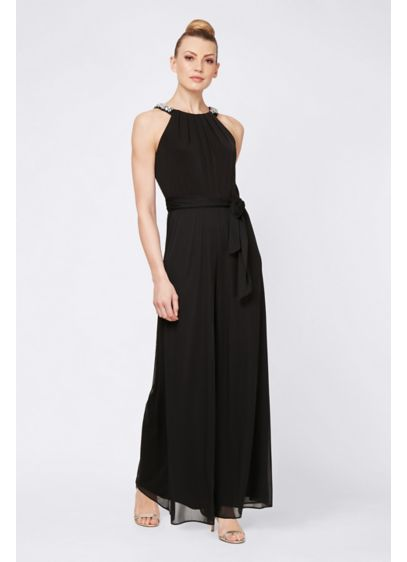 Chiffon Jumpsuit with Beaded Neckline and Sash - Pretty beading at the round halter neckline gives