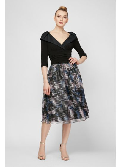 Portrait Collar Dress with Shadow Stripe Skirt - Two elements give this fit-and-flare party dress its