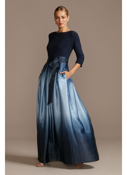 3/4 Sleeve Jersey Bodice Ombre Ball Gown - Turn heads in this wow-worthy special occasion gown,