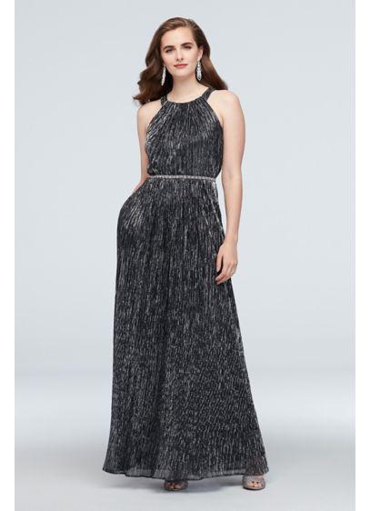 Ignite Grey (Metallic Shimmer Halter Gown with Beaded Belt)