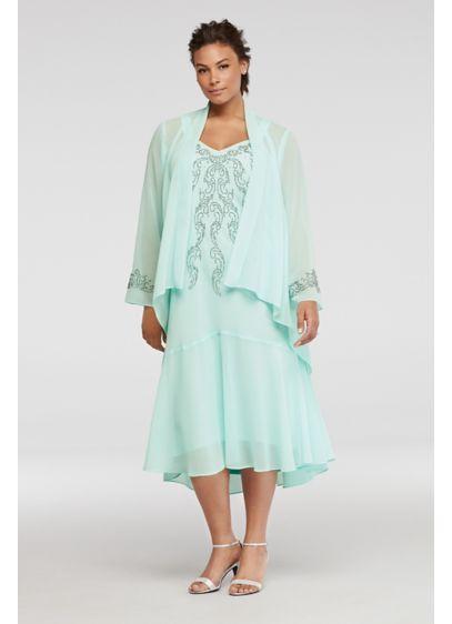 3/4 Sleeve Beaded Plus Size Dress with Jacket | David\'s Bridal